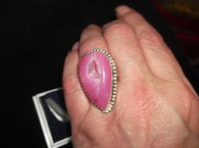 VINTAGE 925 SILVER LADIES STATEMENT RING PINK CRYSTAL GEODE TEARDROP SHAPE P